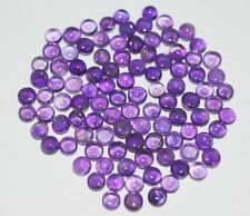 5 PIECES OF 3mm ROUND CABOCHON-CUT PURPLE NATURAL BRAZILIAN AMETHYST GEMSTONES