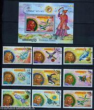 1974//CAMBODGE//KHMERE//SERIE DE 9 TIMBRES+ BLOC+P.A//SPACE/CONCORDE/COPERNIC/