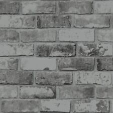 Slate Grey Black Shimmer Brick Wall Effect Realistic Wallpaper Debona 6753 X2