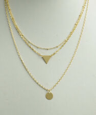 Simulated Turquoise Gold Disc Necklace