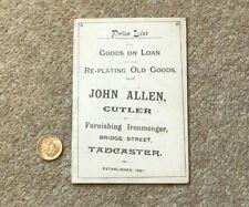 More details for 19thc john allen cutler furnishing ironmonger advert price list tadcaster #a1