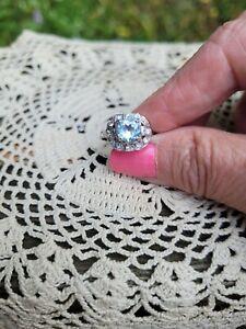 Vintage Art Deco Engagement aquamarine and diamond ring 18k