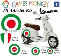 ADESIVI MOTO VESPA kit PIAGGIO Bandiere Italia Cerchio Casco