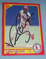 Vince Coleman Signed 1990 Score Cardinals Baseball Card #260 Autograph Mets Reds