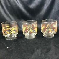 Set of 3 Vintage Clear Glass Wheat Pattern Drinking Glasses