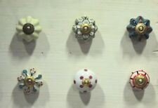 24 Pc Ceramic Knob Vintage Wardrobe DrawerHandle Pull Cupboard Lot PAG 276