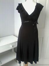 OASIS UK 10 black dress sleeveless godet stretch evening party