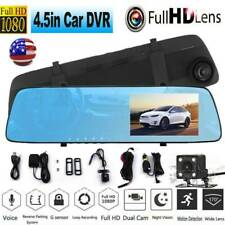 "New listing 1080P 4.5"" Dual Lens Hd Car Dvr Rearview Video Dash Cam Recorder Camera G-sensor"