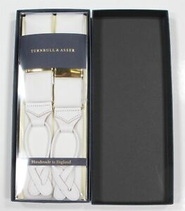 New NIB Turnbull & Asser $230 All White Cotton Formal Suspenders Braces