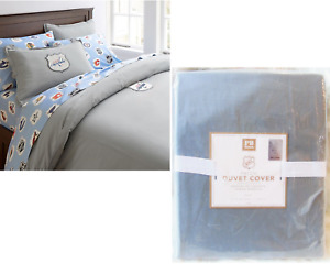 NEW Pottery Barn Silver Gray NHL Patch Ready DUVET COVER Twin TwinXL 100% Cotton