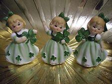 VTG Lefton March St. Patrick's Day Birthday Irish Shamrock Girl Angel Figure Set