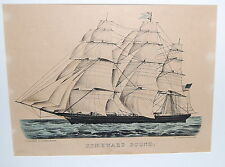 Currier &  Ives Hand Colored Lithograph Homeward Bound Clipper Ship Small Folio