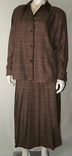 ALLISON DALEY Career Suite Jacket Pleated Skirt & Blouse Multi Brown Check Sz 16