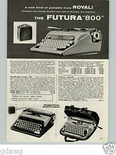 1960 PAPER AD 4 PG Portable Royal Futura 800 Typewriter Smith Corona Remington +