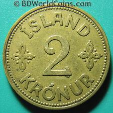 1940 ICELAND 2 KRONUR XF DETAILS! ISLAND WORLD COIN ALUMINUM-BRONZE 9.4gr 28mm