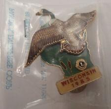 Lions Club Collectors Hat Lapel Pin Wisconsin 1985 Long Neck Goose Bird