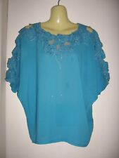 LADIES CUT HOLE EMBROIDERED BLUE BLOUSE  (FREESIZE)