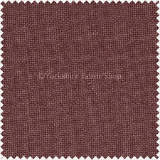 Soft Thick Plain Hopsack Basket Weave Plum Aubergine Upholstery Material Fabric