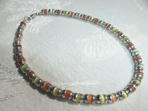 "WONDERFUL Sterling Silver 925 Orange Yellow Beaded Satin Glass ANKLET 9 1/2"""
