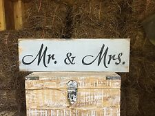 "Large Rustic Wood Sign - ""Mr. & Mrs."" - Fixer Upper, Vintage Shabby, Gray"