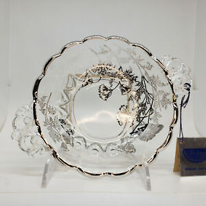 Vintage Sterling on Crystal Glass Serving Bowl Handled Silver City Glass Co NWT