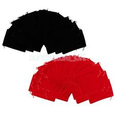 100pcs Velvet Pouch Gift Bags With Drawstring 7x9cm Black Red Jewelry Bag
