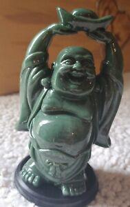 "Vintage Chinese Carved Jadeite Happy Laughing Buddha 5"" Statue Figurine 🔥"