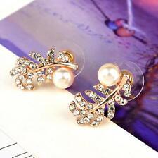 Elegant Fashion Womens Lady Crystal Rhinestone Leaf Ear Stud Earrings Jewelry