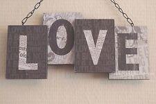 Shabby Chic Love 3D Wall Plaque Sign Black & Cream Wooden Decor 24cm SG1450