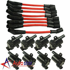 8 Pcs Spark Plug Ignition Wires Set+8 Pcs Round Ignition Coils Kit For Chevy GMC