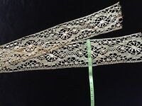 Antique wide Lace Trim Flounce Costume Sewing Salvage Primitive Edging 63""