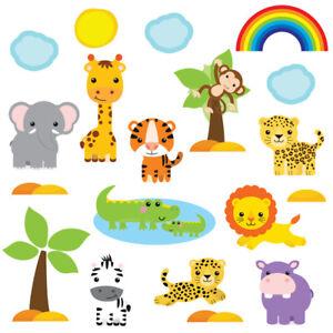 Kids Childrens Cute Jungle Safari Animal Wall Stickers, CuteBabySafari SAFR.4