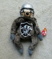 Ty Beanie Sloth w/tags Hand Painted with Oakland Raiders Logo w/ Added Helmet