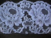 Two Pieces of Vintage Ivory French White Alencon Cotton Lace Wedding Bridal Lace