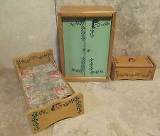 Vintage Dollhouse Wooden Furniture With Girl's Face Stamped on Front (3) Pieces