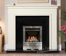 GAS WHITE SURROUND BLACK MARBLE GRANITE MODERN SILVER COAL FIRE FIREPLACE LARGE
