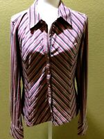 Express Ladies Polyester Blend Red And Black Striped Blouse Size XL