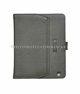 iPad 2,3&4 Olive Green Plain Nappa Luxury Real Genuine Leather Cover Case Stand