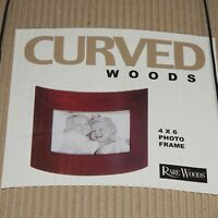 Rare Woods Walnut Curved Photo Frame NEW 4 x 6 Natural Wood Burnes of Boston