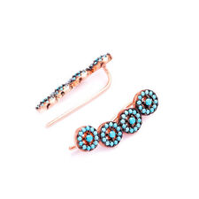 925 Sterling Silver Turquoise Pave Ear Cuff Crawler Earrings Rose Gold Plated