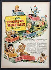1944 Ovaltine Vitamins Minerals Original Advertisement Vintage AD Comic Art Cart