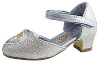 Girls Disney Frozen Silver Glitter Heeled Kids Shoe Size 13