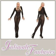 Black Bodystocking Long Sleeve Crotchless Sexy Lingerie Size 8 10 12 14 16