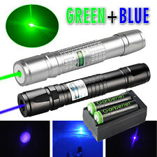 990miles Greenampblue Laser Pointer Pen Zoom Lazer Visible Beam Withbatterycharger