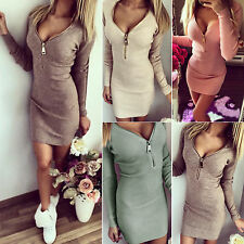 Women's Bodycon Zipper V Neck Long Sleeve Casual Party Winter Jumper Mini Dress