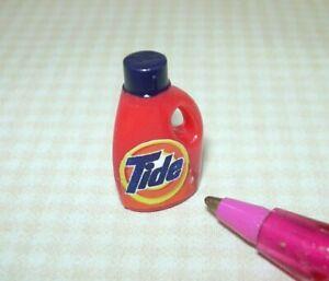 Miniature Orange Liquid Laundry Detergent Bottle, Dark Blue Cap: DOLLHOUSE 1:12