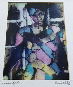 Woman of Color Signed Ron Phillips Art Ronnie Photograph Collage Artwork Nice