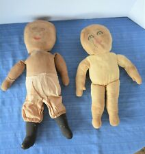 Two Very Old Cloth Dolls (1 Straw Stuffed) w Hand Embroidery