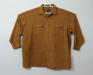 Harbor Bay Long Sleeve Button Down Casual Shirt Brown Men's 4XL