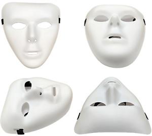 2 x PLAIN WHITE MATT PLASTIC FACE MASK PAINTABLE HALLOWEEN MICHAEL MYERS QR15